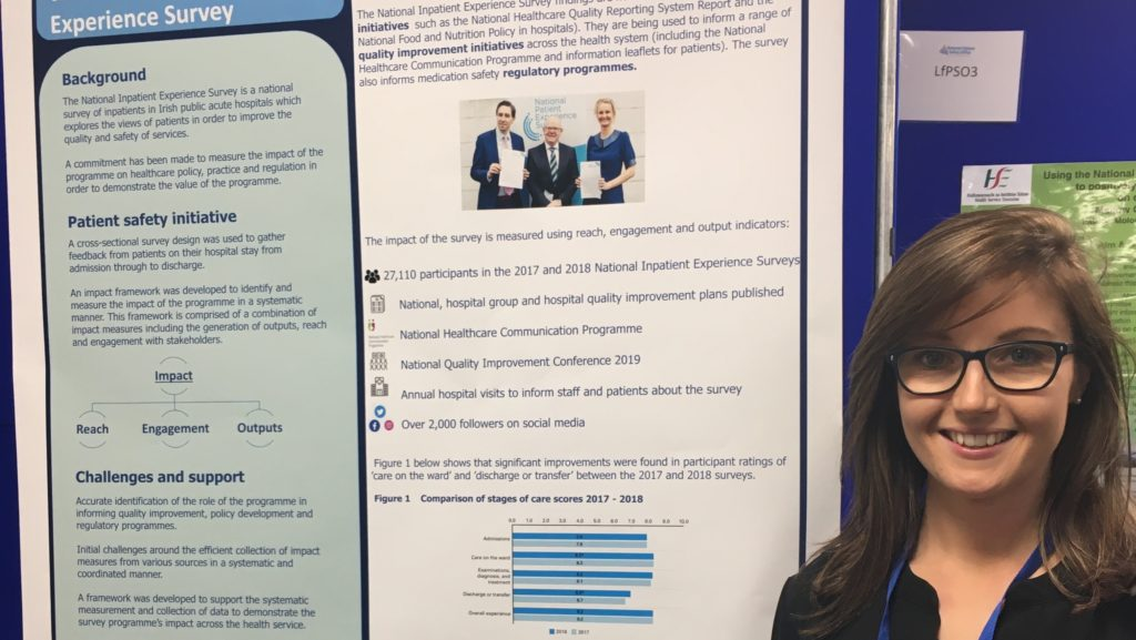 Tina Boland, Research Officer, presented a poster on measuring the impact of the National Inpatient Experience Survey at the National Patient Safety Office Conference on 13 November 2019.